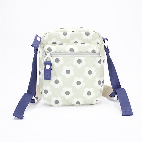 Recycled polyester printed cross shoulder bag(Light Grey)