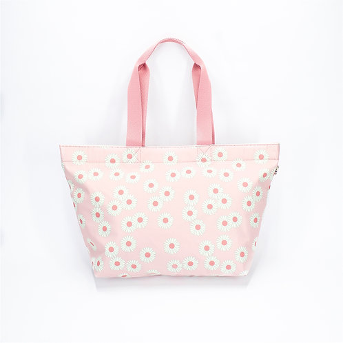 Recycled polyester floral printed tote(Pink)