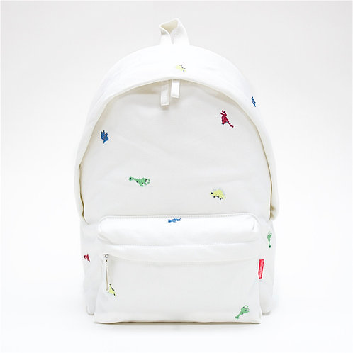 Dino Embroidery Canvas Backpack (White)