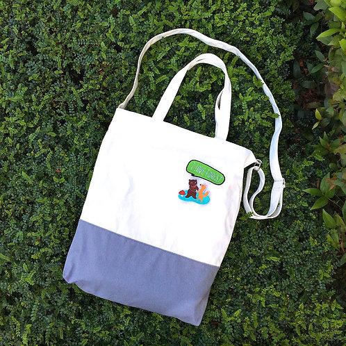 Color Block 2 Ways Tote Bag (Grey/White)