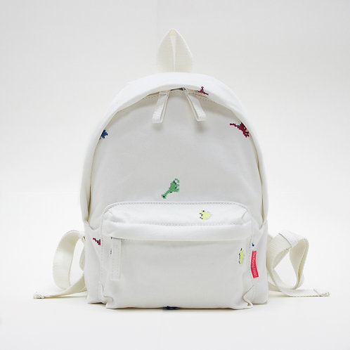 Dino Embroidery Canvas Mini Backpack (White)