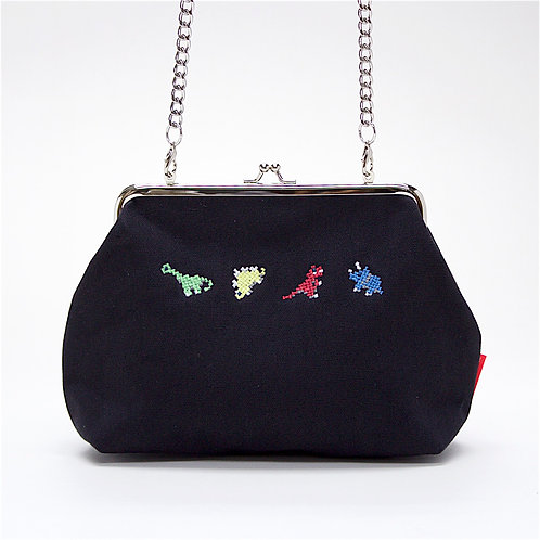 Dino Cross Body Clutch ( Black )