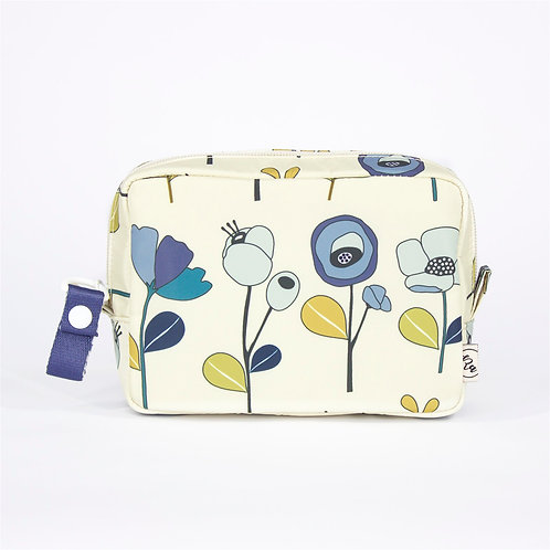 Recycled polyester floral printed cosmetic pouch (Beige)