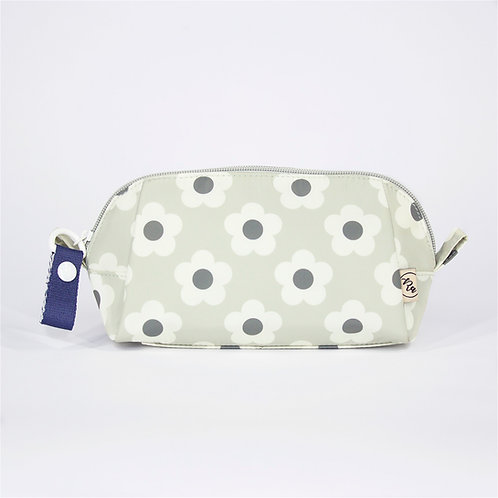 Recycled polyester floral printed cosmetic pouch (Light Grey)