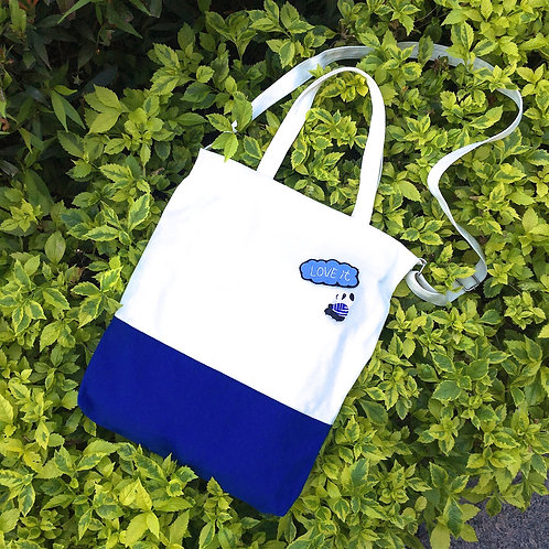 Color Block 2 Ways Tote Bag (Blue/White)