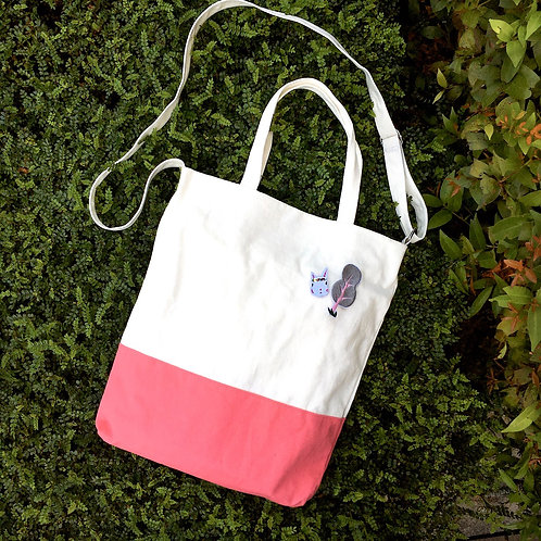 Color Block 2 Ways Tote Bag (Pink/White)