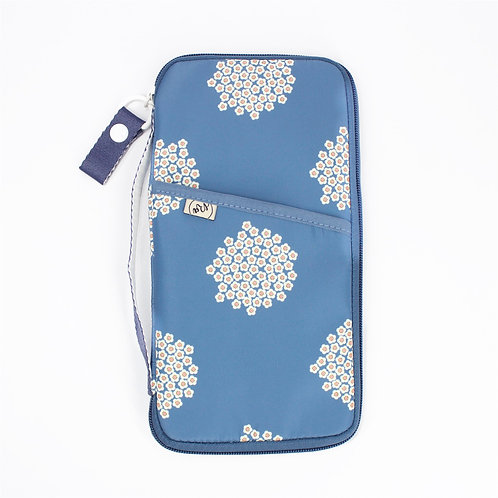 Recycled polyester printed passport organiser (Blue)