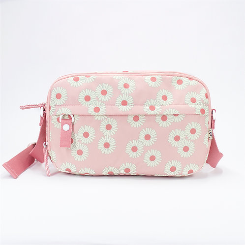 Recycled polyester floral printed cross shoulder bag (Pink)