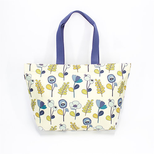 Recycled polyester floral printed tote (Beige)