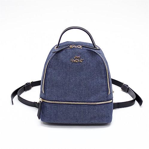 Aristocat 3 Ways Waterproof Heavy Denim Mini Backpack ( Black , Blue )