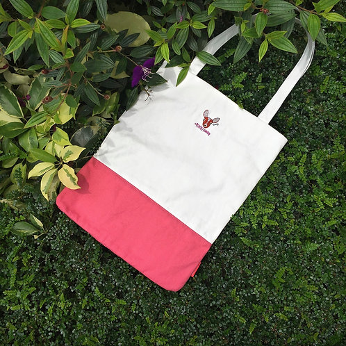 Deerly Colourblock Tote Bag (Pink/ White)