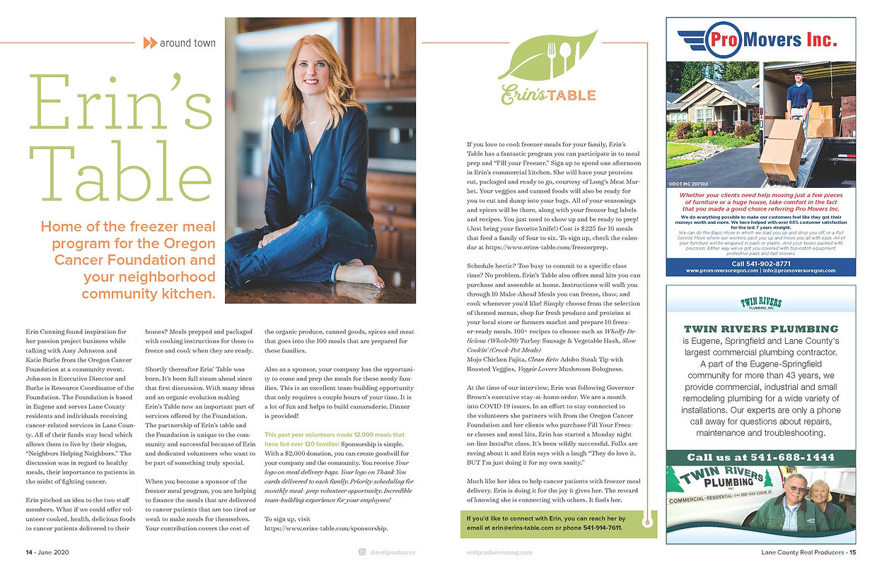 Erin's Table in the June 2020 issue of Lane County REAL Producers