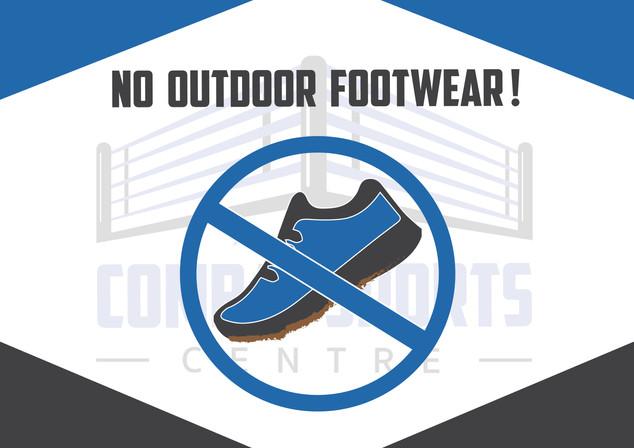 No Outdoor Footwear sign