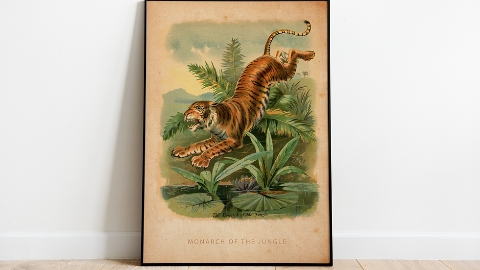 Vintage Tiger poster A2 (Monarch of the jungle)