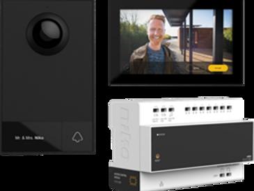 Kit vidéo, 2 fils, avec module de contrôle d'accès, poste intérieur vidéo et pos