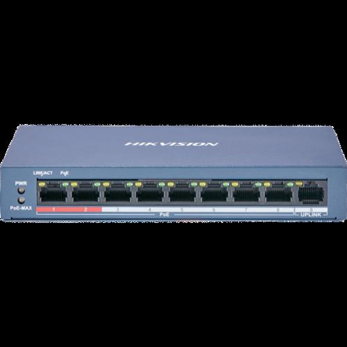 Switch PoE+ Hikvision 9 ports dont 8 ports PoE/PoE+ et fonction Extend 250m