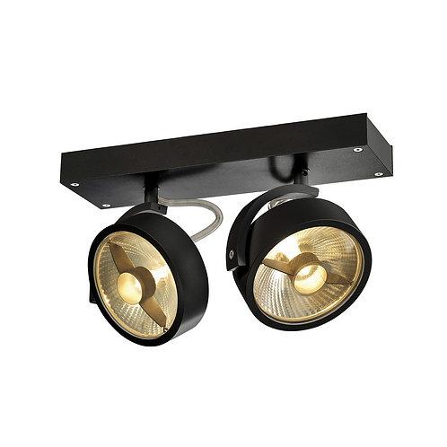 Applique et plafonnier KALU QPAR111, à 2 lampes, noir, max. 75 W,
