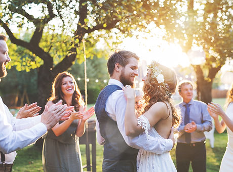 Bride and groom dancing at wedding recep