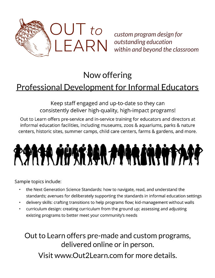 Infographic flyer, professional devlopment, acorn logo, silhouettes, out to lean