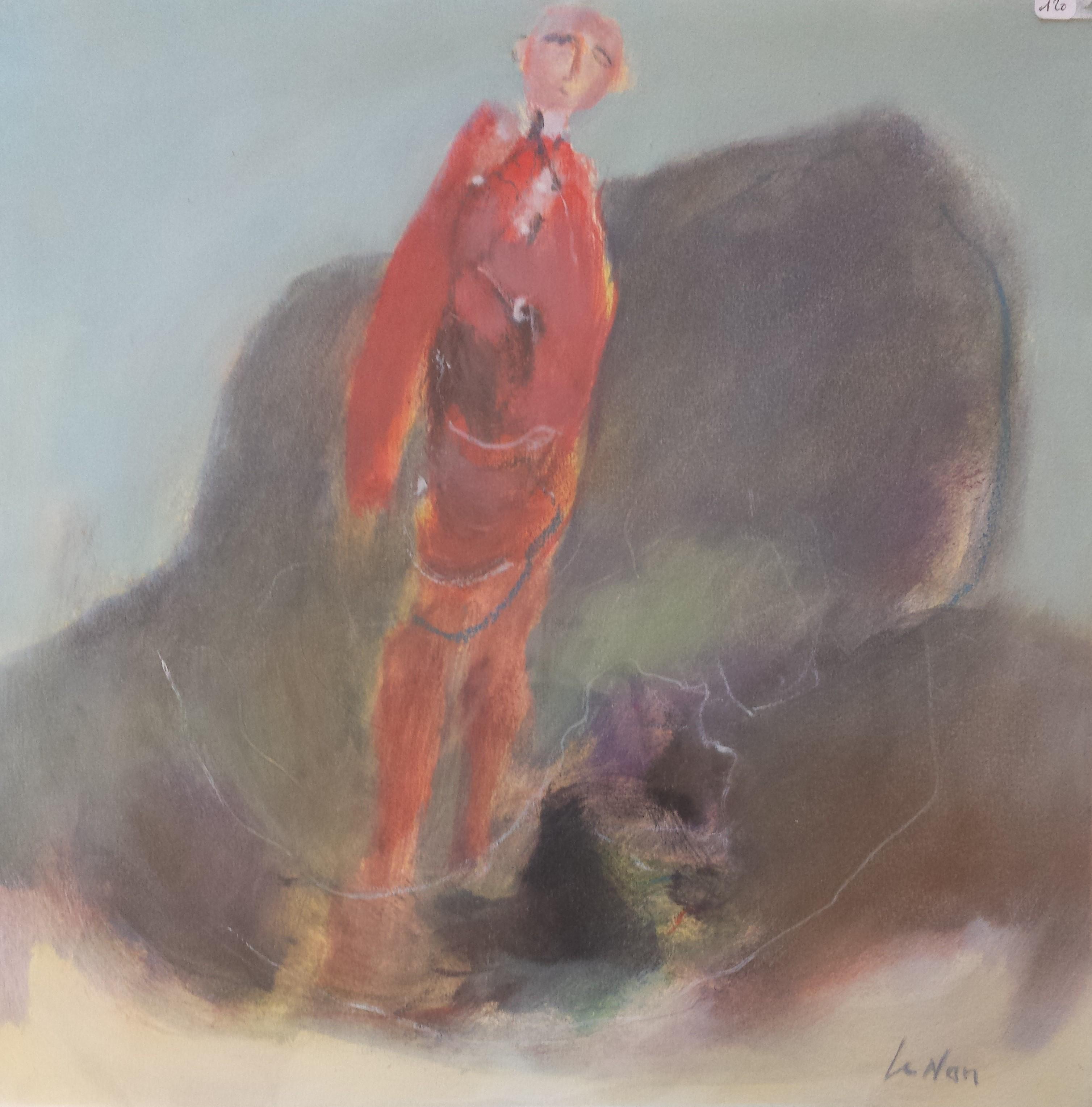 L'homme  et le rocher 37x37