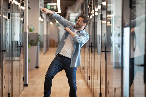 Overjoyed funny male employee have fun p
