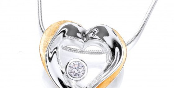 Modern Gold Vermeil and Silver Heart Drop Pendant without chain