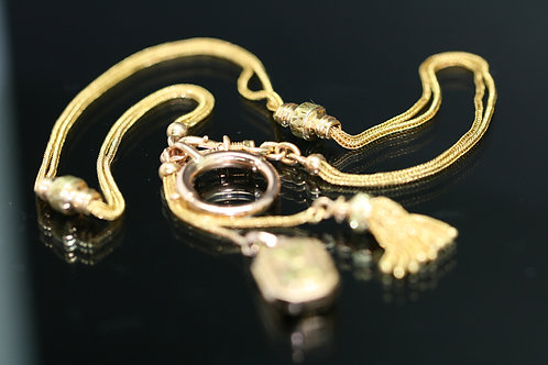 Rare Victorian Watch Chain with Double Sliders Locket, Tassle