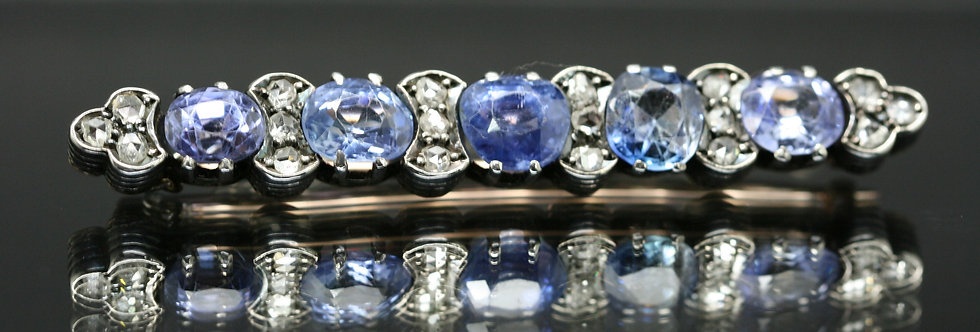 Ceylon Sapphire And Diamond Brooch