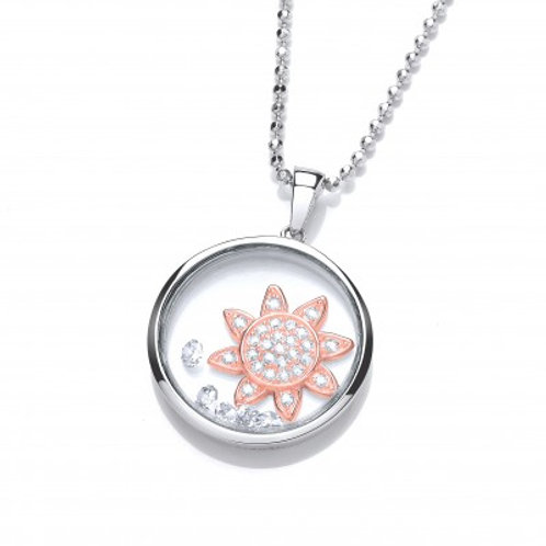 Celestial Rose Gold Rising Sun Pendant without Chain