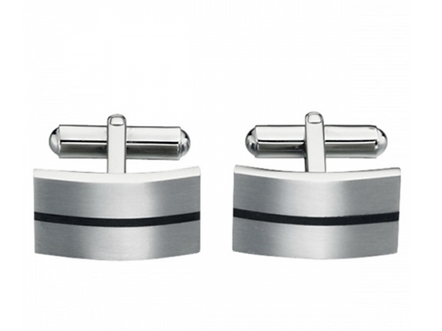 Fred Bennett Black Centre Stripe Stainless Steel Cufflinks