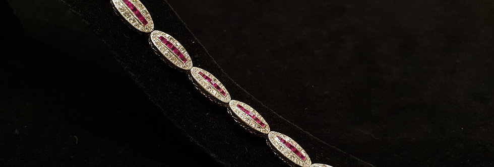 18ct White Gold Diamond and Ruby Bracelet