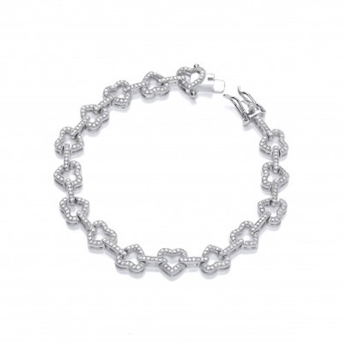 Yours Forever Silver and CZ Hearts Bracelet