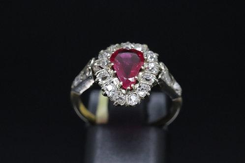 Georgian Pink Sapphire & Rose Cut Diamond Ring