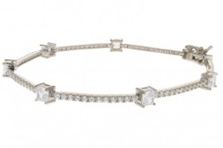 Silver and CZ Squares Bracelet