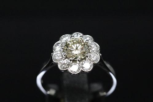 Platinum and Diamond Flower Ring