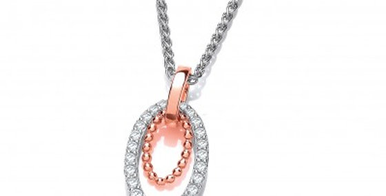 Silver and Rose Gold Twin Loop Pendant without Chain