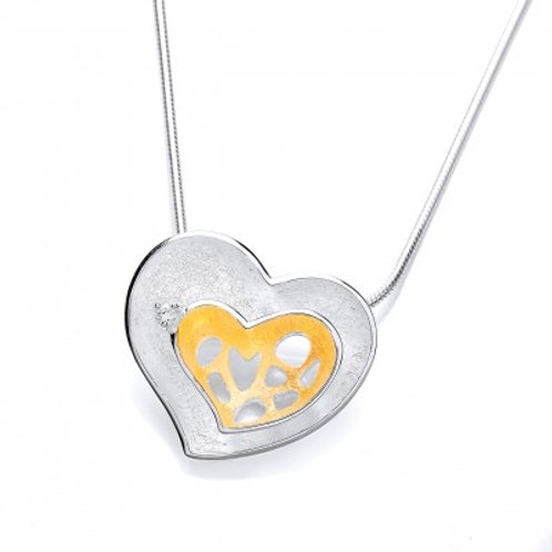 Gold Vermeil and Brushed Silver Double Heart Pendant without chain