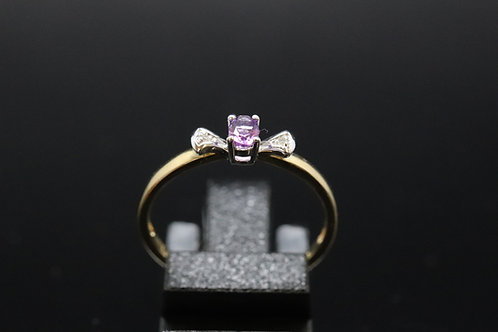 Solid Gold Amethyst & Diamond Ring