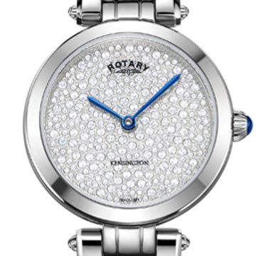 Rotary Kensington Pave Steel Quartz Watch