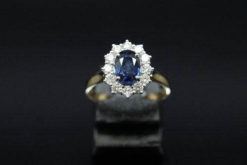 Sapphire & Diamond Cluster in 18ct Yellow Gold