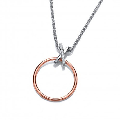 Silver and Rose Gold Dainty Kiss Pendant without Chain