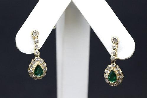 Emerald & Diamond Drop Earrings in 18ct Yellow Gold