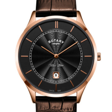 Rotary Ultra Slim Rose Gold Stainless Steel Watch