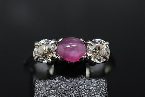 Solid 18ct White Gold Cabochon Cut Star Ruby and Old Cut Diamond Ring