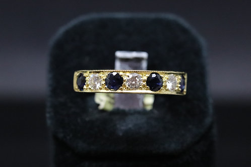 18ct Gold Diamond and Sapphire Half Eternity Ring