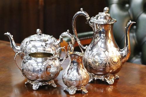 Early Victorian Sterling Silver Tea Set Sheffield Hallmarked 1842-1843