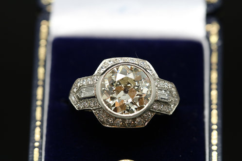 Art Deco Style Old Cut Platinum and Diamond Ring