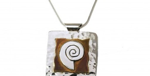 Silver and Golden Swirl Square Pendant without Chain