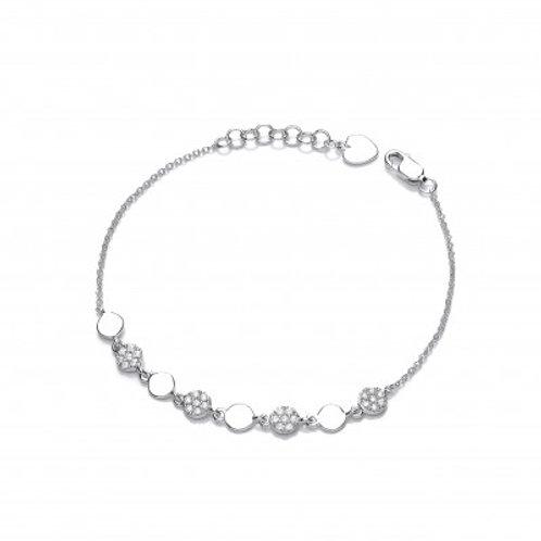 Silver and CZ Disco Bracelet