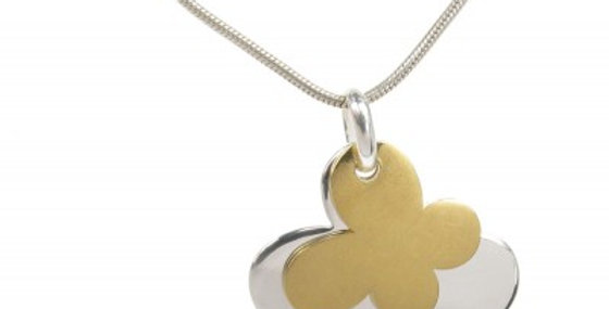 Silver and gold plate double butterfly pendant without Chain